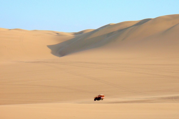 Giant sand dunes Huacachina Ica Peru Dune Buggy