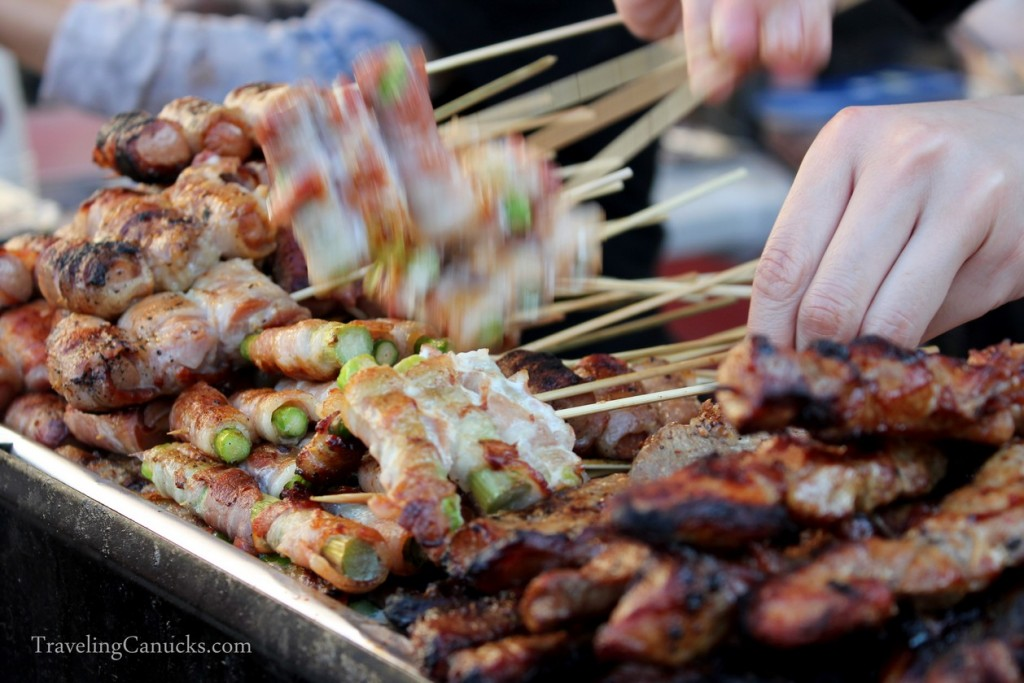 variety of grilled yakitori skewers at outdoor market in Japan