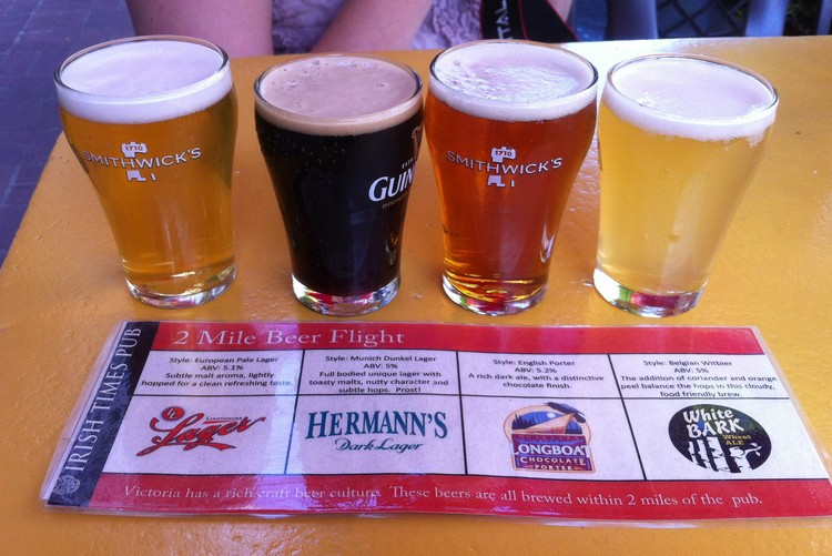 Flight of beer at Irish Times pub in Victoria British Columbia