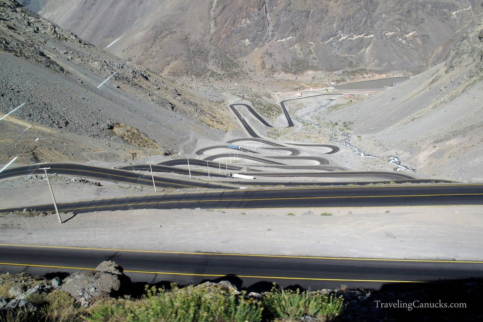 Mountain Road from Argentina to Chile in Andes Mountains, South America