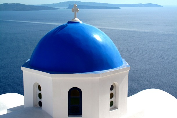 Blue-dome Church, Oia, Santorini, Greece