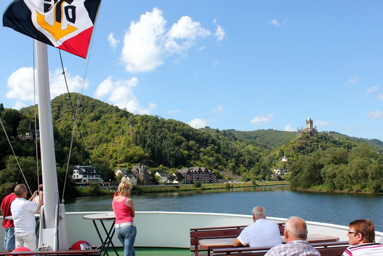 views of Cochem Castle from Mosel River Cruise, Germany