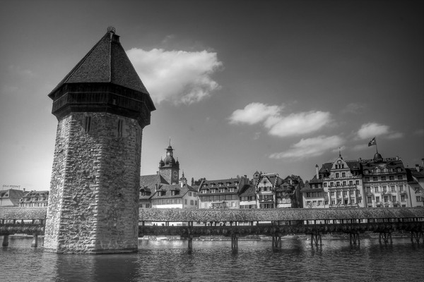 chapel bridge and water tower, lucerne, switzerland