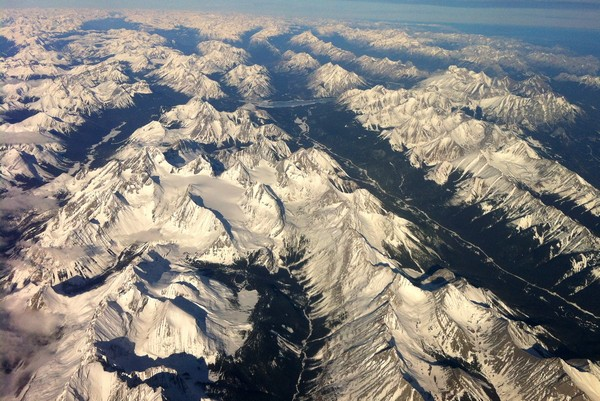 Aerial views of Canadian Rockies