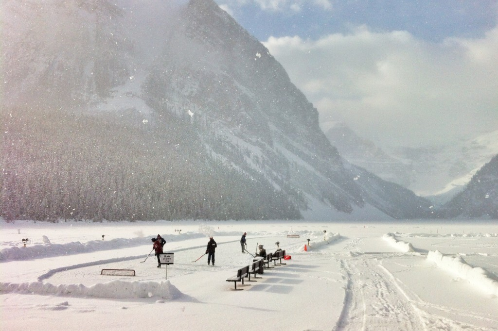 outdoor skating in winter on Lake Louise with snow, Canadian Rockies, Alberta