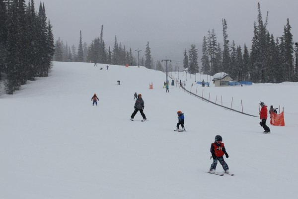 Learning to ski at Sun Peaks Resort, British Columbia