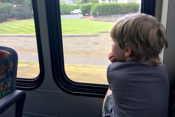 Braydon enjoying the bus, Comox Valley, British Columbia, #ExploreBCbyBus