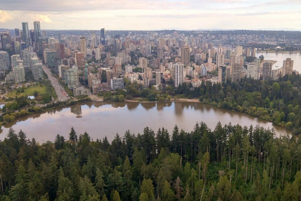 Aerial views of Stanley Park in Vancouver British Columbia