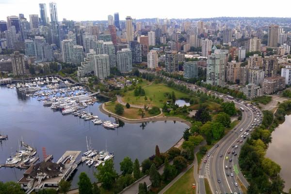 Seaplane flight in British Columbia, Vancouver, Coal Harbour, Stanley Park