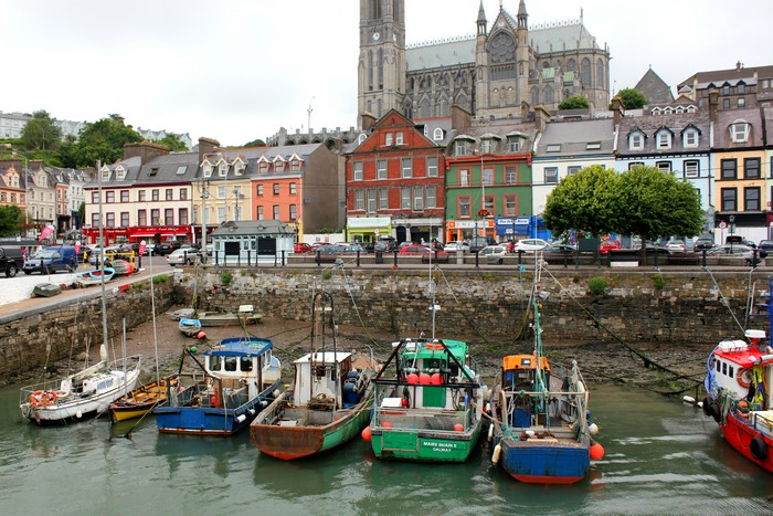 Cobh, Ireland, Fishing boats, St. Colman's Cathedral
