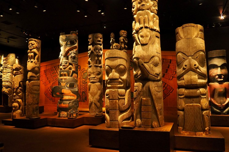Totem poles, First Peoples Galley, Royal BC Museum, Victoria, British Columbia