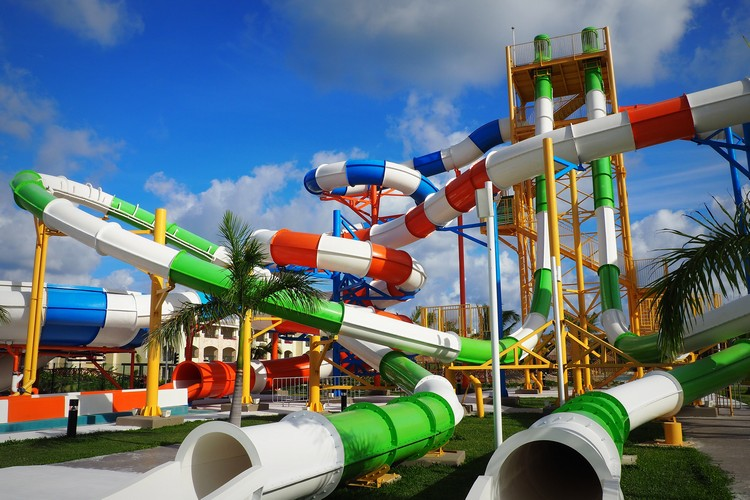 Water slides at The Grand at Moon Palace Resort Cancun Mexico