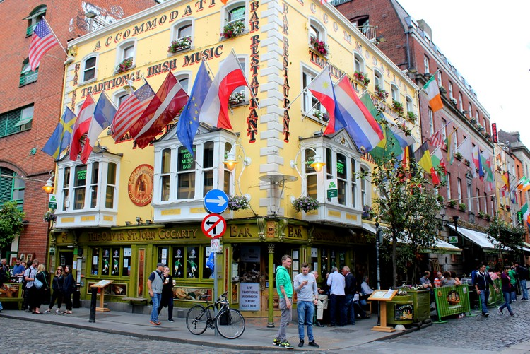 Colourful Pub with flags in Dublin - Top Ireland attractions