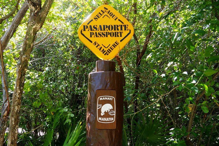 passport station at Xel-Ha Park, Mexico