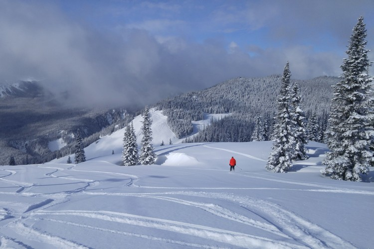 skiing fresh powder at Manning Park Resort in British Columbia Canada