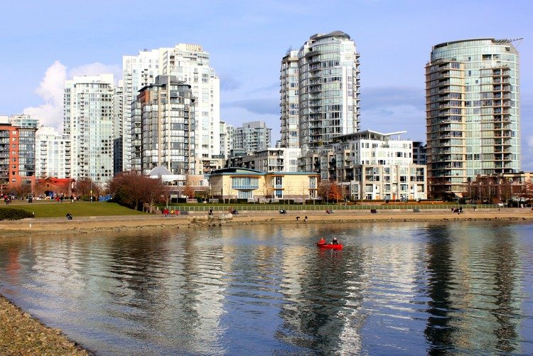 Yaletown buildings on waterfront, Vancouver skyline