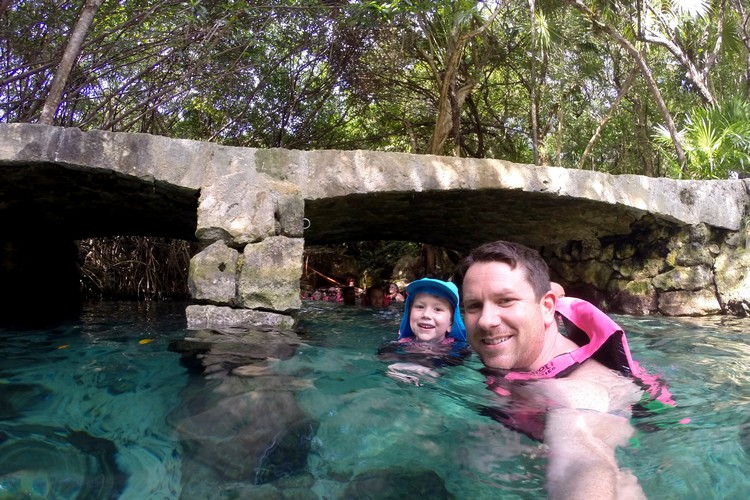 floating river inside Xcaret Cancun, Mexico family travel guide