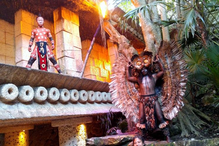 Xcaret night show, entertainment Maya warriors in character, family travel guide to Cancun Mexico