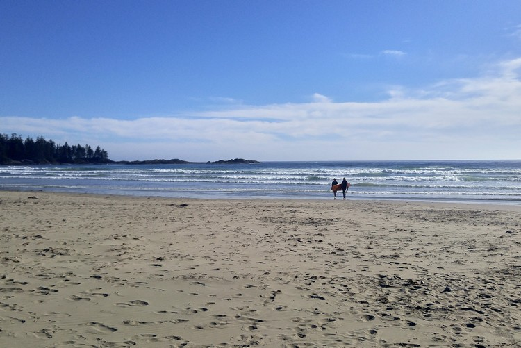 Surfing at Wick Beach, Tofino