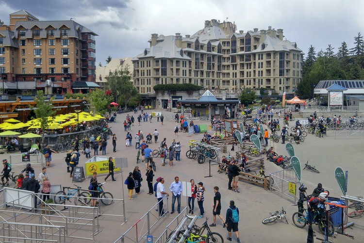 Whistler Village in the summer with Mountain Bikes
