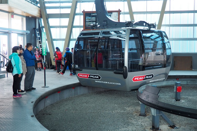 Peak to Peak Gondola with glass bottom, silver gondola Whistler Mountain, British Columbia, Canada
