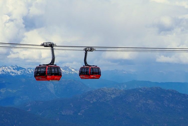 peak to peak gondola views Whistler Mountain British Columbia
