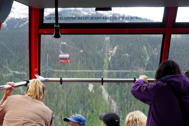 inside cabin on Peak to Peak Gondola 360 experience Whistler British Columbia