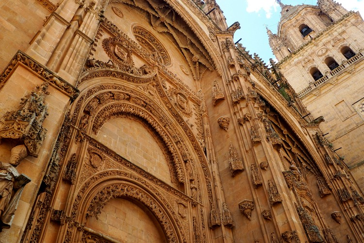 Plateresque style facade Salamanca Cathedral Spain