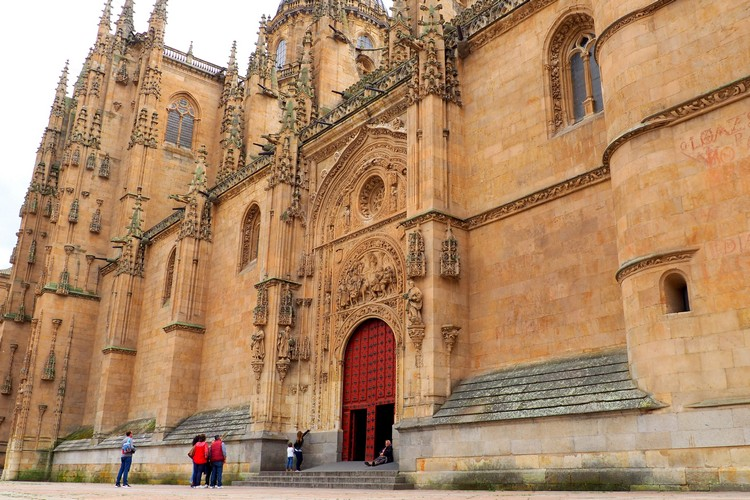 Outside the New Cathedral of Salamanca, Spain