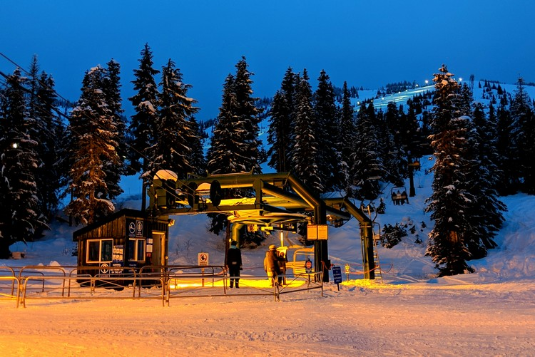 Night skiing at Sasquatch Mountain Resort, British Columbia, Canada