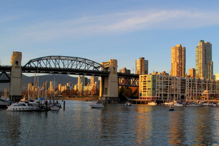 Vancouver's Burrard bridge at sunset
