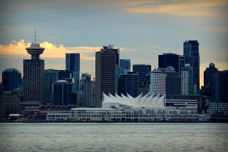 Vancouver skyline from North Vancouver, Burrard Inlet and Canada sails
