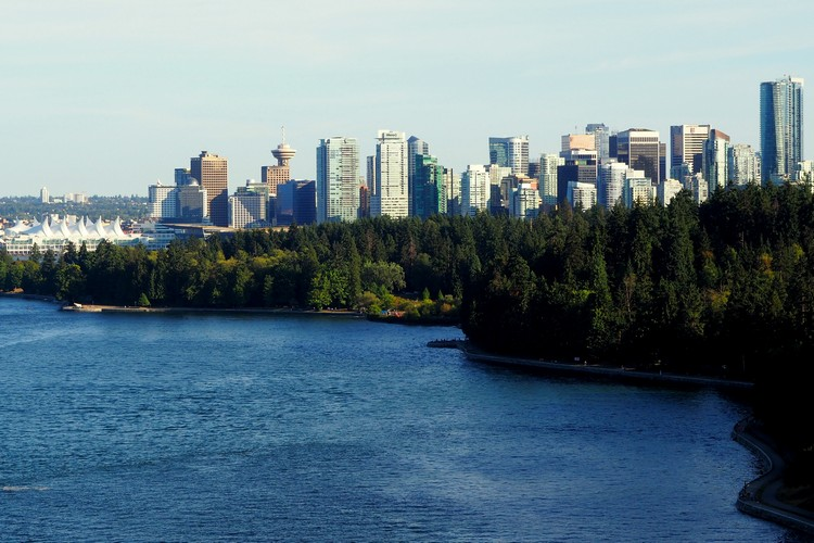 Vancouver skyline from Lions Gate Bridge, Stanley Park