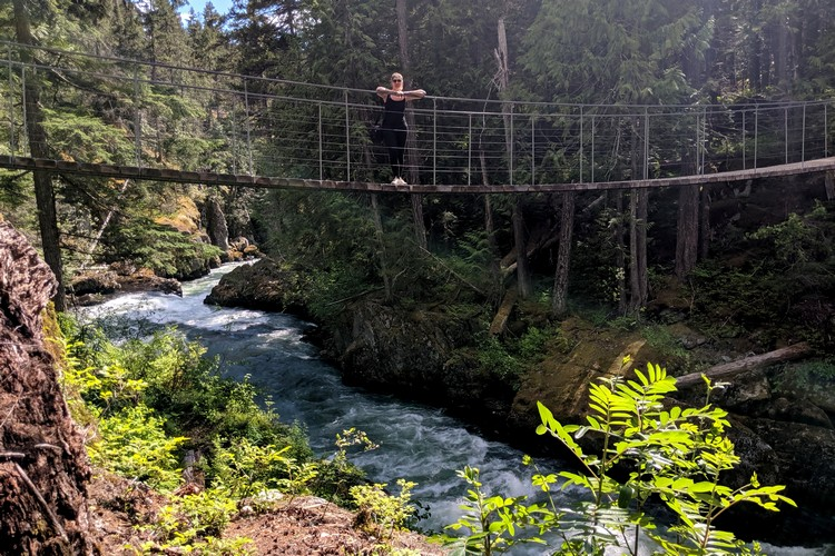 Cheakamus River Suspension Bridge, also known as the Whistler Train Wreck Bridge, things to do in Whistler this summer