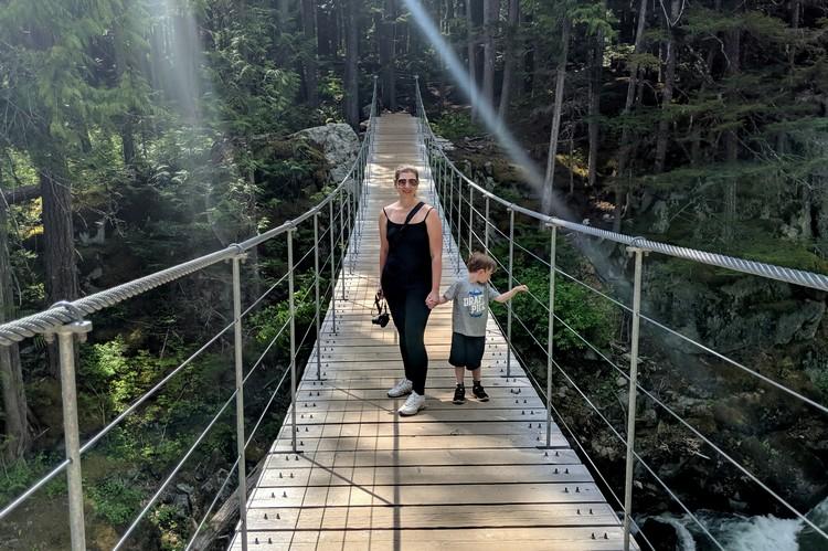 Cheakamus River suspension bridge Whistler Train Wreck Hike