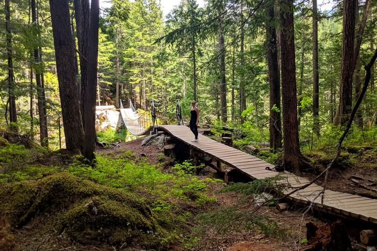 Whistler Train Wreck hiking trail suspension bridge and boardwalk
