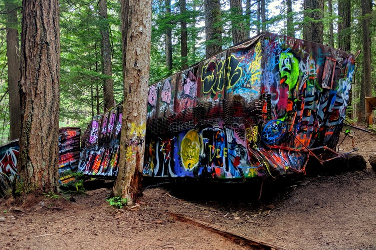 Whistler train wreck graffiti on old box cars