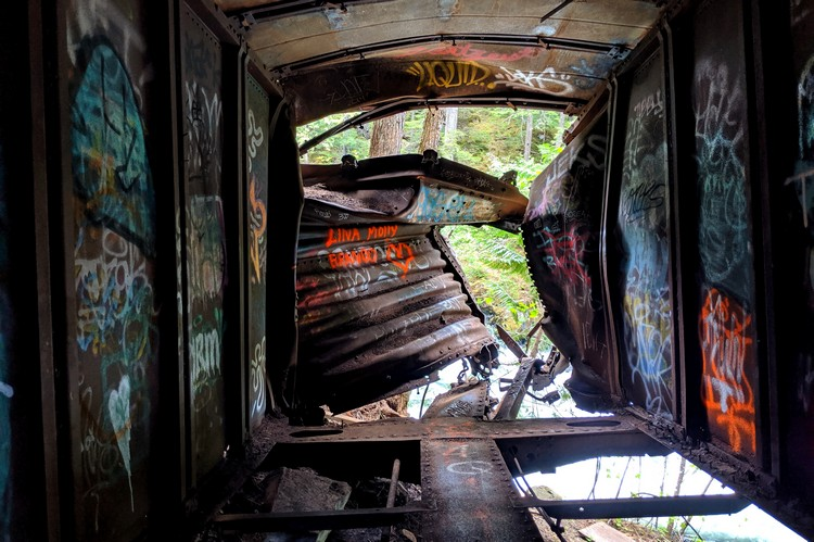 Inside the box car at the Whistler train wreck site