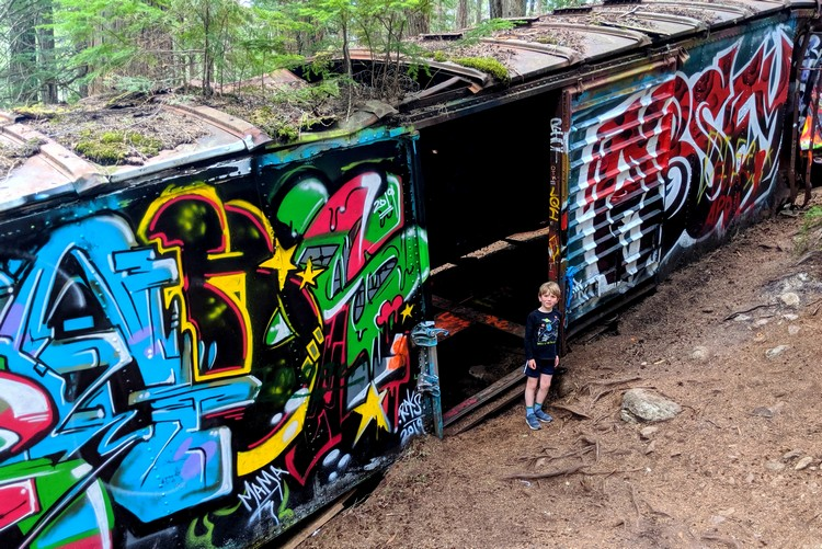 Whistler train wreck hike box car art work graffiti
