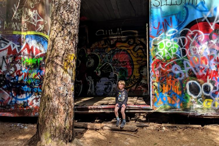 Whistler train wreck graffiti on old box cars