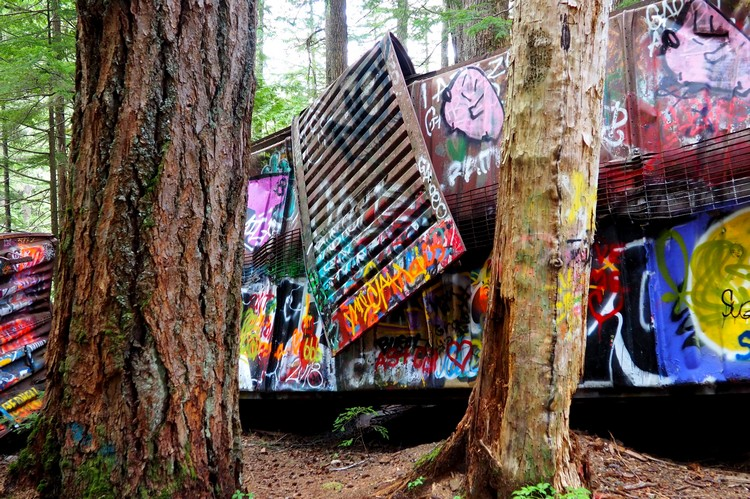 whistler train wreck outdoor art gallery