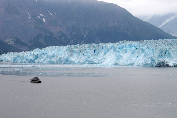 icebergs in Alaska Disenchantment Bay with Hubbard Glacier and mountains