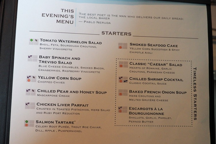 sample menu for main dining restaurant on Celebrity Eclipse cruise ship