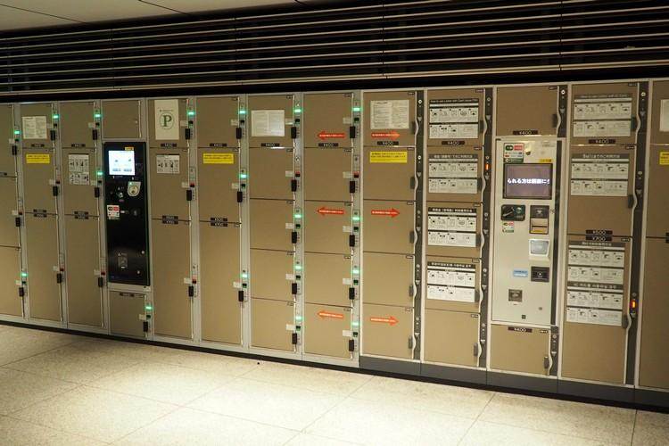 a row of storage lockers at Tokyo station in Tokyo Japan