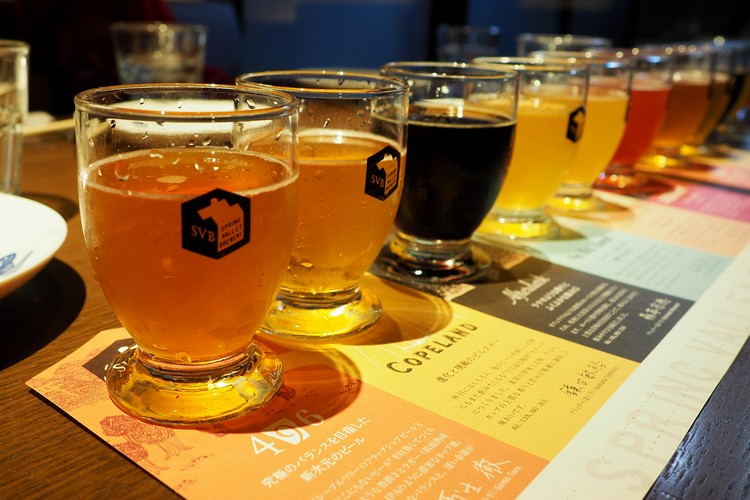 Flight of beer at Spring Valley Brewery in Kyoto Japan