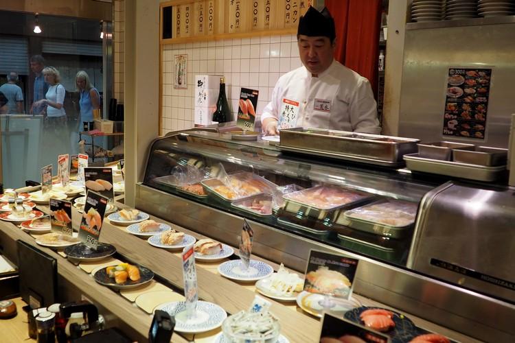 sushi train restaurant Tokyo Japan travel guide