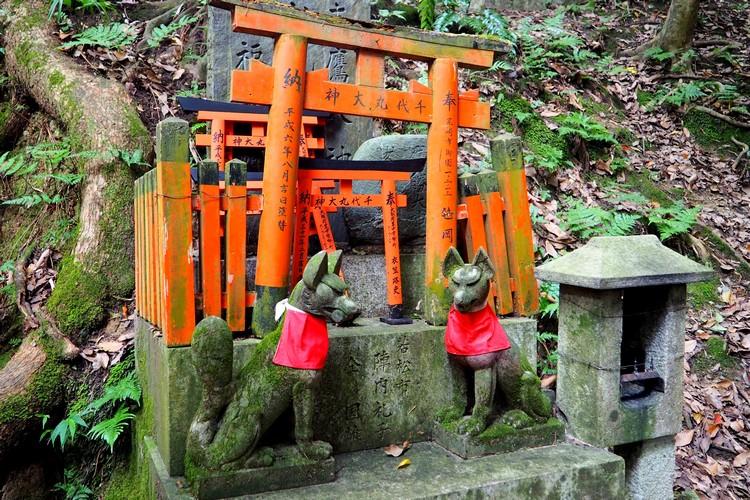 temples and shrines inside Fushimi Inari Shrine in Kyoto, Japan