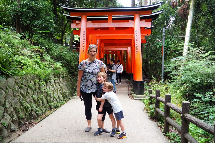 torii gates at shrine in Kyoto Japan, family travel destinations