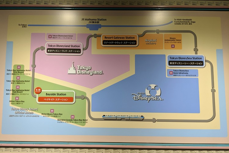 map of the Tokyo Disney Resort Line with train stations and Disney hotels