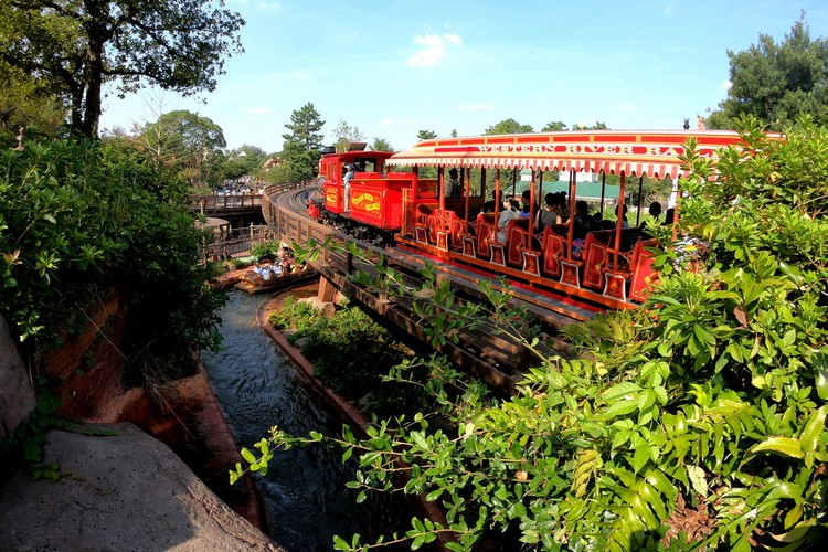 Red steam train in Tokyo Disneyland